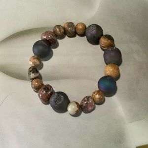 Hand Crafted Jewelry - Druzy Quartz Agate & Various Indian Bead Bracelet